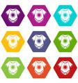 baby bodysuit icon set color hexahedron vector image