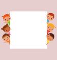 children behind blank sign vector image