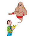 man summoning a genie from a magic lamp vector image