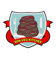 Piece of roasted meat steak Logo for cafe or vector image