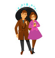 rain weather happy couple under umbrella vector image