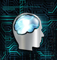 Technology background with microchip and brain vector image