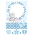 Baby hippo blue scrapbook set vector