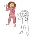 girl tantrum coloring book vector image vector image