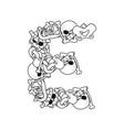letter e skeleton bones font anatomy of an vector image