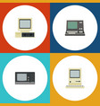 flat icon laptop set of technology vintage vector image