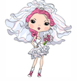 Hipster girl bride in her short wedding dress vector image