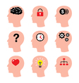 Head man thoughts brain icons set vector image vector image
