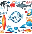 Background with surfing design elements and vector image