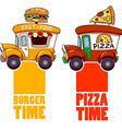 Cartoon fast-food car with a big hamburger and vector image