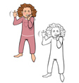 girl tantrum coloring book vector image