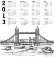 tower bridge 2013 calendar vector image