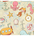 Underwater creatures seamless pattern vector image