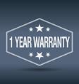 1 year warranty hexagonal white vintage retro vector image