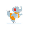 flat elephant character ice skating vector image