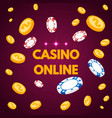 internet casino lettring with chips and coin vector image