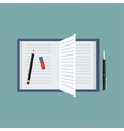 Open book with penpencil and an eraser Top view vector image