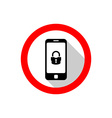 Smartphone with lock icon Warning sign with flat vector image