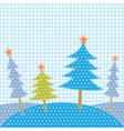 Christmas trees in patchwork style vector image vector image