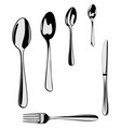 cutlery set isolated on the white vector image