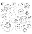 various cogwheels parts of watch movement doodle vector image
