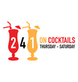 two for one on cocktails deal vector image vector image