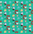 cupcake and mixer pattern vector image