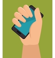 hand holding smartphone with blue screen vector image