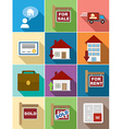 Real Estate flat icons set design vector image