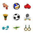 sport competition icons set cartoon style vector image
