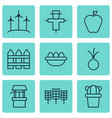 set of 9 garden icons includes barrier windmill vector image