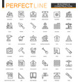 building and construction thin line web icons set vector image