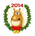 Funny horse symbol of the year vector image