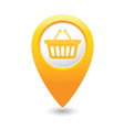 basket icon yellow map pointer vector image