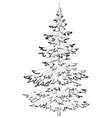 christmas tree with ornaments contours vector image
