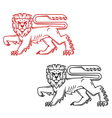Heraldic lion king in retro cartoon style vector image vector image