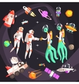 Astronauts Shaking Hands With Extraterrestrial vector image