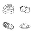 fruits and other food food set collection icons vector image