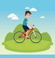 healthy lifestyle man riding bike design vector image