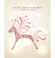 Ornament horse Chinese New Year 2014 vector image