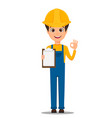 constructor worker handsome builder holding vector image
