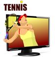 al 0839 monitor and tennis 01 vector image