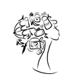 Female head sketch shopping concept for your vector image vector image