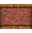 Background room with bricks and wooden floor vector image