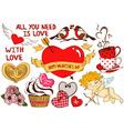 Collection of love scrapbook design elements vector image