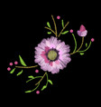 embroidery stitches with gerbera and leaves vector image
