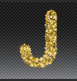 gold glittering letter j shining golden vector image