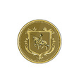 Knight Riding Steed Lance Coat of Arms Medallion vector image