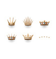 Set of royal gold crown and five stars icons vector image
