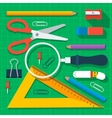 Colorful school supplies flat design vector image vector image